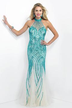Blush Lingerie Sequined Halter Neck Tulle Trumpet Gown 11043
