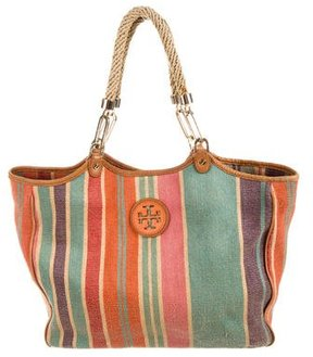 Tory Burch Leather-Trimmed Canvas Tote - BROWN - STYLE