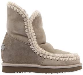 Mou 70mm Short Eskimo Shearling Wedge Boots
