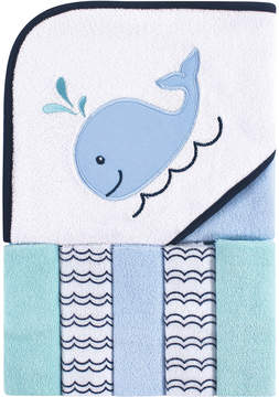 Luvable Friends Blue & White Whale Hooded Towel & Washcloth Set