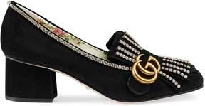 Gucci Suede mid-heel pump with crystals