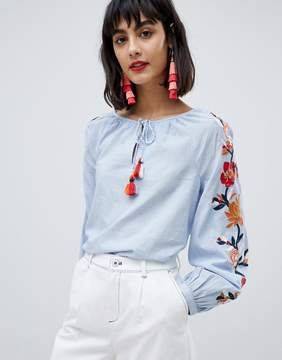 Esprit Embroidered Sleeve Peasant Top
