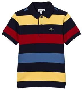 Lacoste Navy and Multi Colour Stripe Pique Polo