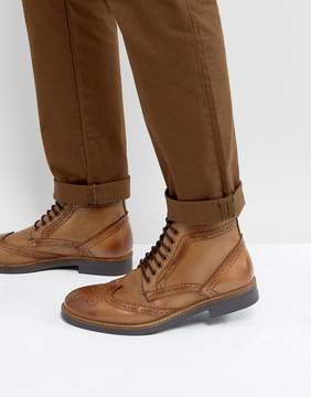 Frank Wright Brogue Boots Tan Leather