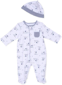 Little Me Baby Boys' 2-Piece Puppy Toile Coverall & Hat Set