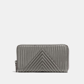 COACH Coach Accordion Zip Wallet With Quilting And Rivets - BLACK COPPER/HEATHER GREY - STYLE