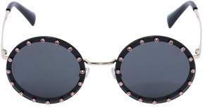 Valentino Round Sunglasses W/ Pink Crystals