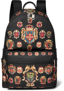 Dolce & Gabbana Leather-Trimmed Printed Shell Backpack
