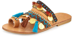 Neiman Marcus Elina Linardaki Marrakech Embroidered Coin Sandal Slide, Multi
