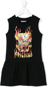 Moschino Kids burning Sponge Bob print dress