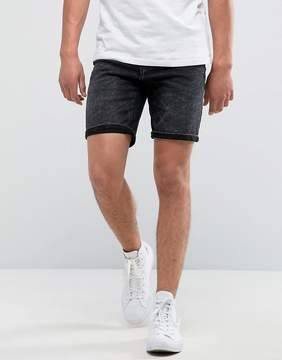 Pull&Bear Denim Shorts In Washed Black