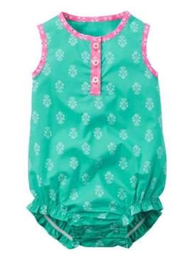 Carter's Infant Girls Mint Green & Pink Floral Romper Bodysuit