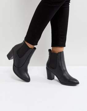 New Look Pointed Leather Look Heeled Ankle Boot