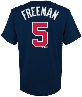 Majestic Boys 4-18 Atlanta Braves Sam Freeman Player Name and Number Tee