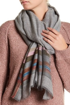 Saachi Stripe Edge Silk & Wool Blend Scarf