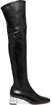 Miu Miu Crystal-embellished Leather Over-the-knee Boots - Black