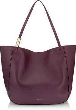 Jimmy Choo STEVIE TOTE Grape Nappa Leather Shoulder Bag