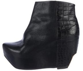 Miista Embossed Platform Wedge Booties