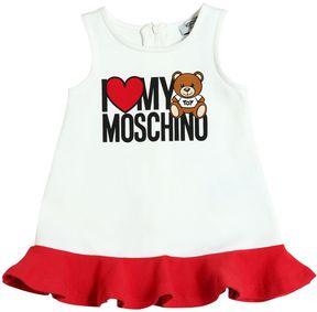 Moschino Bear Logo Printed Cotton Dress