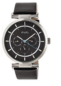 Simplify Black Leather Strap Watch