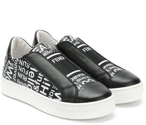 Fendi lettering print slip-on sneakers