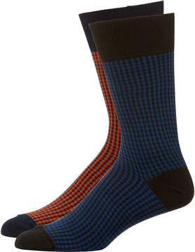 Zanella Men's Houndstooth Socks, Two Pack
