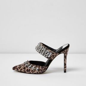 River Island Womens Brown leopard print rhinestone court heel mules