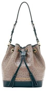 Dooney & Bourke Ostrich Drawstring Shoulder Bag. - BRONZE GREY - STYLE