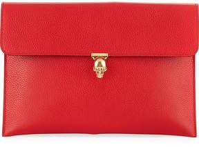 Alexander McQueen Skull-Clasp Leather Envelope Clutch Bag, Red