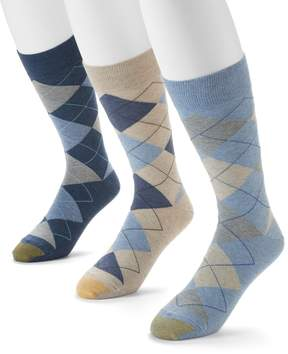 Gold Toe GOLDTOE Men's GOLDTOE 3-pack Carlyle Argyle Crew Socks