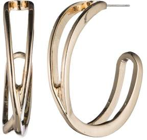 Nine West Gold Tone Crossover Hoop Earrings One Size Gold tone