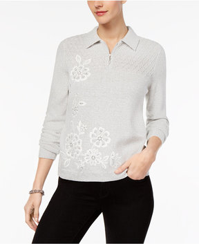 Alfred Dunner Eskimo Kiss Embroidered Zip-Up Sweater