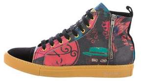 John Galliano Printed Leather Sneakers