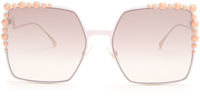 FENDI Embellished square-frame metal sunglasses