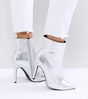 New Look Wide Fit Metallic Heeled Ankle Boot