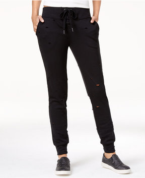 Almost Famous Lace-Up Ripped Jogger Pants