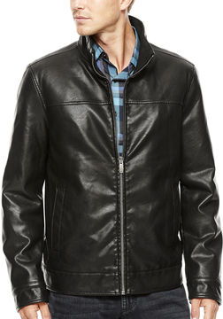 Dockers Faux-Leather Stand Collar Jacket