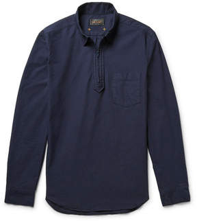 Beams Cotton Oxford Half-Zip Shirt