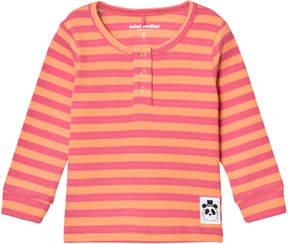 Mini Rodini Pink Ribbed Stripe Grandpa Top