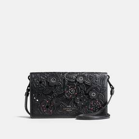 COACH Coach Foldover Crossbody Clutch In Glovetanned Leather With Tea Rose Tooling - DARK GUNMETAL/BLACK - STYLE