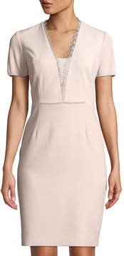 T Tahari Short-Sleeve Lace-Trim Sheath Dress