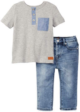 7 For All Mankind Knit Henley & Jean 2-Piece Set (Baby Boys 12-24M)