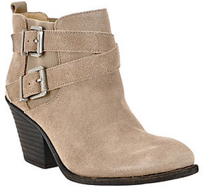 Sole Society Leather Ankle Boots with Buckle Detail - Maris