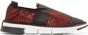 Cinzia Araia Red Mesh Slip-On Shoes
