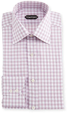 Tom Ford Slim-Fit Check Cotton-Linen Dress Shirt