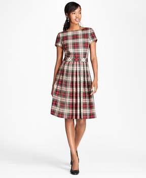 Brooks Brothers Pleated Tartan Wool Twill Dress