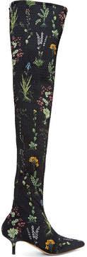Altuzarra Elliot Floral-print Matelassé Over-the-knee Boots - Black