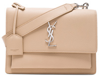 Saint Laurent Medium Monogramme Sunset Satchel in Neutrals. - POUDRE - STYLE