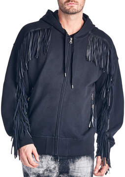 Cult of Individuality Men's Fringe Cotton Hoodie