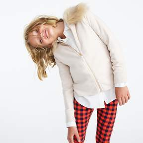 J.Crew Girls' fur-trimmed fleece zip-up